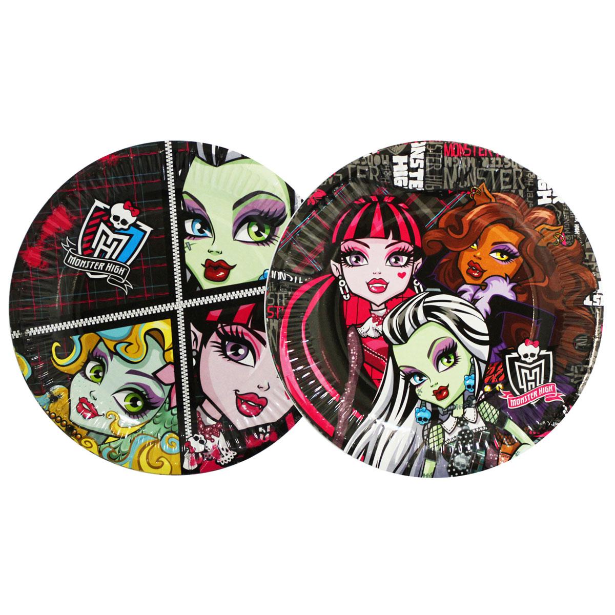 Monster High Тарелка бумажная 10 шт21249Одноразовая посуда прочно вошла в современную жизнь, и теперь многие люди просто не представляют без нее детский праздник или пикник: она почти невесома, не может разбиться и не нуждается в мытье. Изготовленные из бумаги, тарелки для праздника Монстр Хай являются экологически чистыми, поэтому безопасны для здоровья. Благодаря глянцевому ламинированию они прекрасно справляются со своей задачей: удерживают еду, не промокают и не протекают. В набор входит 10 тарелок диаметром 18 см.