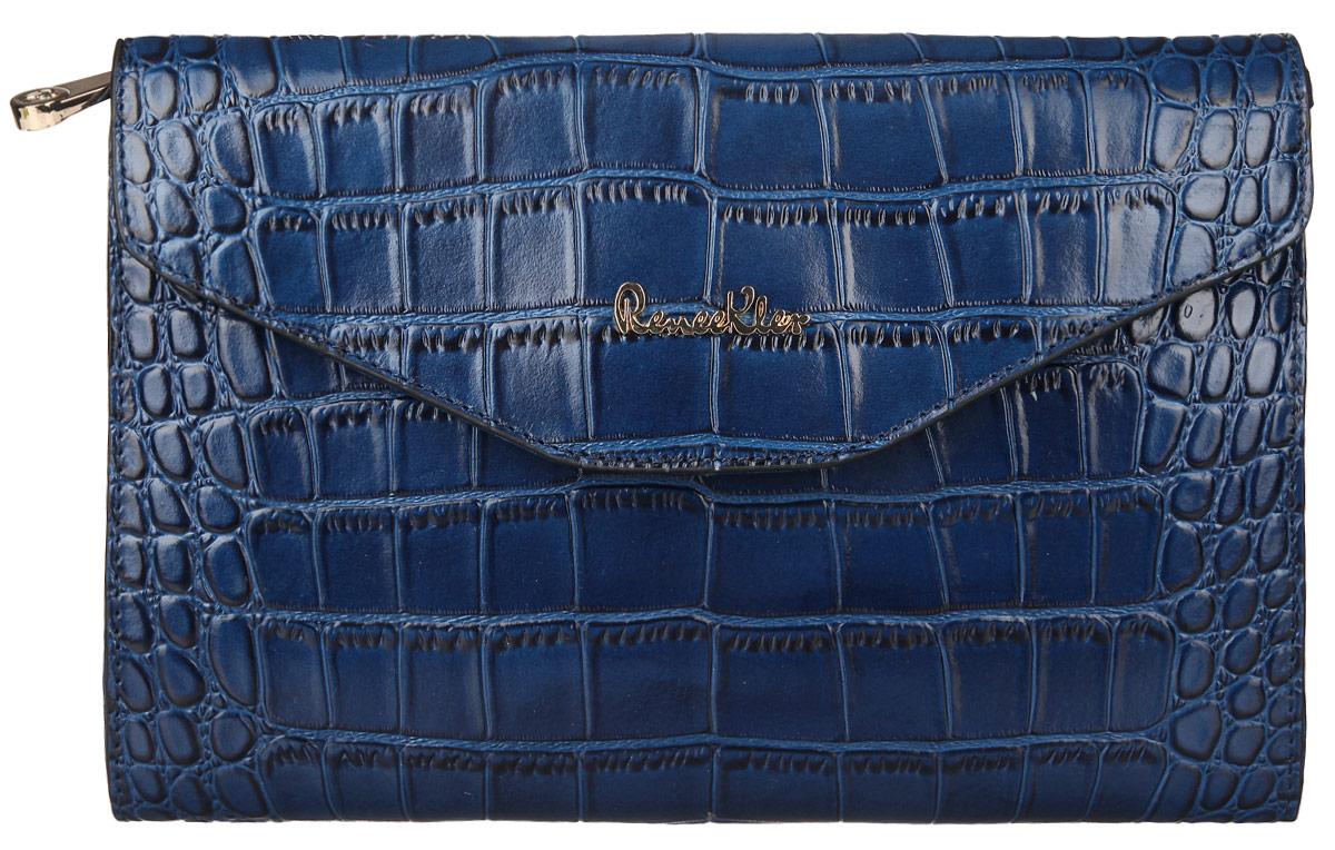 Клатч Renee Kler, цвет: синий. RL338-06RL338-06Стильный клатч Renee Kler выполнен из натуральной кожи с декоративным тиснением под рептилию, оформлен металлической фурнитурой с символикой бренда. Изделие содержит одно вместительное отделение, которое закрывается клапаном на магнитную кнопку и дополнительно на молнию. Внутри расположены: врезной карман на молнии и два накладных кармашка для мелочей. Снаружи, с тыльной стороны изделия, расположен врезной карман, застегивающийся на молнию. Клатч оснащен съемным плечевым ремнем. Оригинальный аксессуар позволит вам завершить образ и быть неотразимой.
