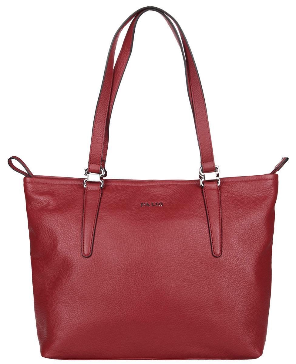 Сумка женская Palio, цвет: красный. 14342A-33514342A-335 redСтильная женская сумка Palio выполнена из натуральной кожи с зернистой фактурой, оформлена металлической фурнитурой с символикой бренда. Изделие содержит одно отделение, которое закрывается на молнию. Внутри расположены два накладных кармашка для мелочей, карман-средник на молнии и врезной карман на молнии. Снаружи, на задней стороне сумки, расположен врезной карман на застежке-молнии. Сумка оснащена двумя практичными ручками для переноски. Оригинальный аксессуар позволит вам завершить образ и быть неотразимой.
