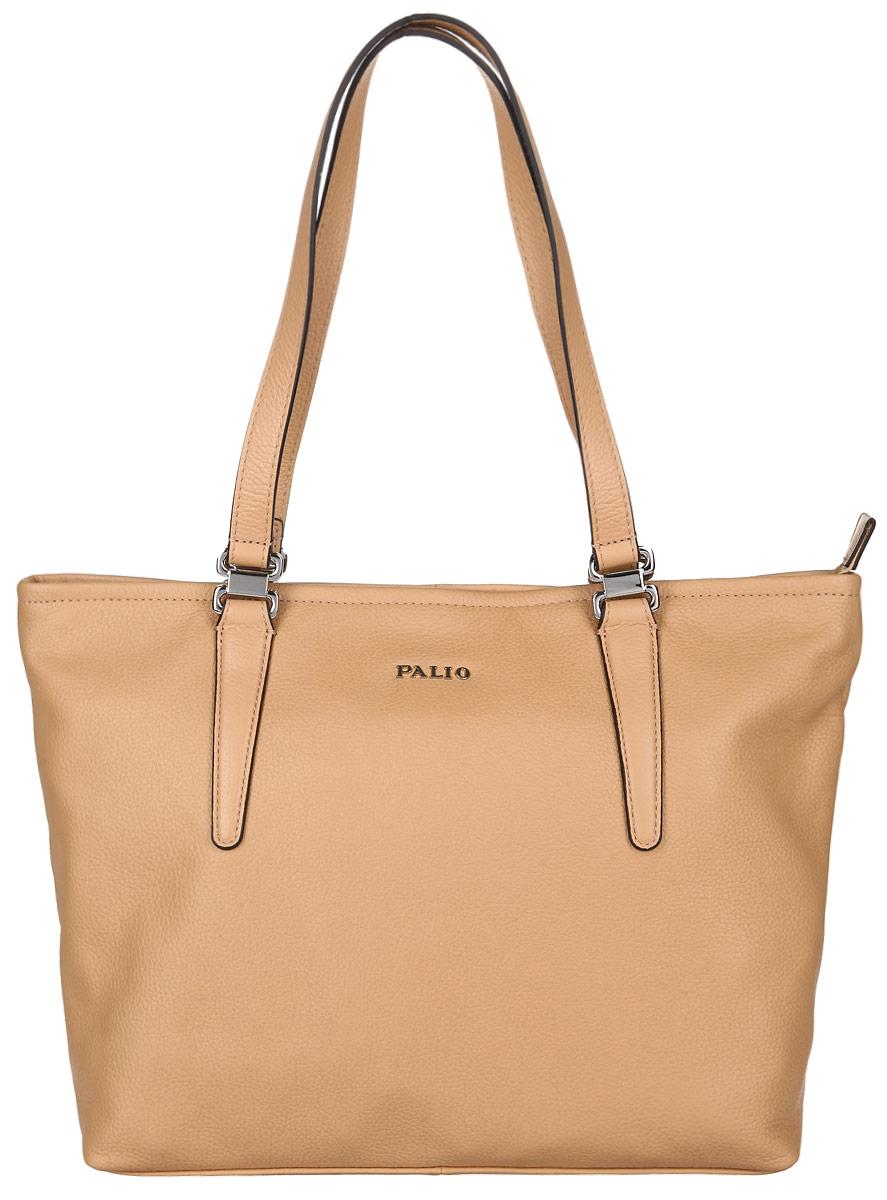Сумка женская Palio, цвет: бежевый. 14342A-25514342A-255 beigeСтильная женская сумка Palio выполнена из натуральной кожи с зернистой фактурой, оформлена металлической фурнитурой с символикой бренда. Изделие содержит одно отделение, которое закрывается на молнию. Внутри расположены два накладных кармашка для мелочей, карман-средник на молнии и врезной карман на молнии. Снаружи, на задней стороне сумки, расположен врезной карман на застежке-молнии. Сумка оснащена двумя практичными ручками для переноски. Оригинальный аксессуар позволит вам завершить образ и быть неотразимой.