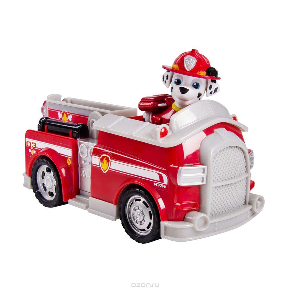 Игрушка Щенячий патруль Машинка спасателя и щенок, Marshall16601 MarshallУ каждой машинки свои особенные функции: подвижный ковш экскаватора, лестница у пожарной машины, вращающиеся колеса. У фигурки щенка подвижные ноги и голова 6 видов машинок