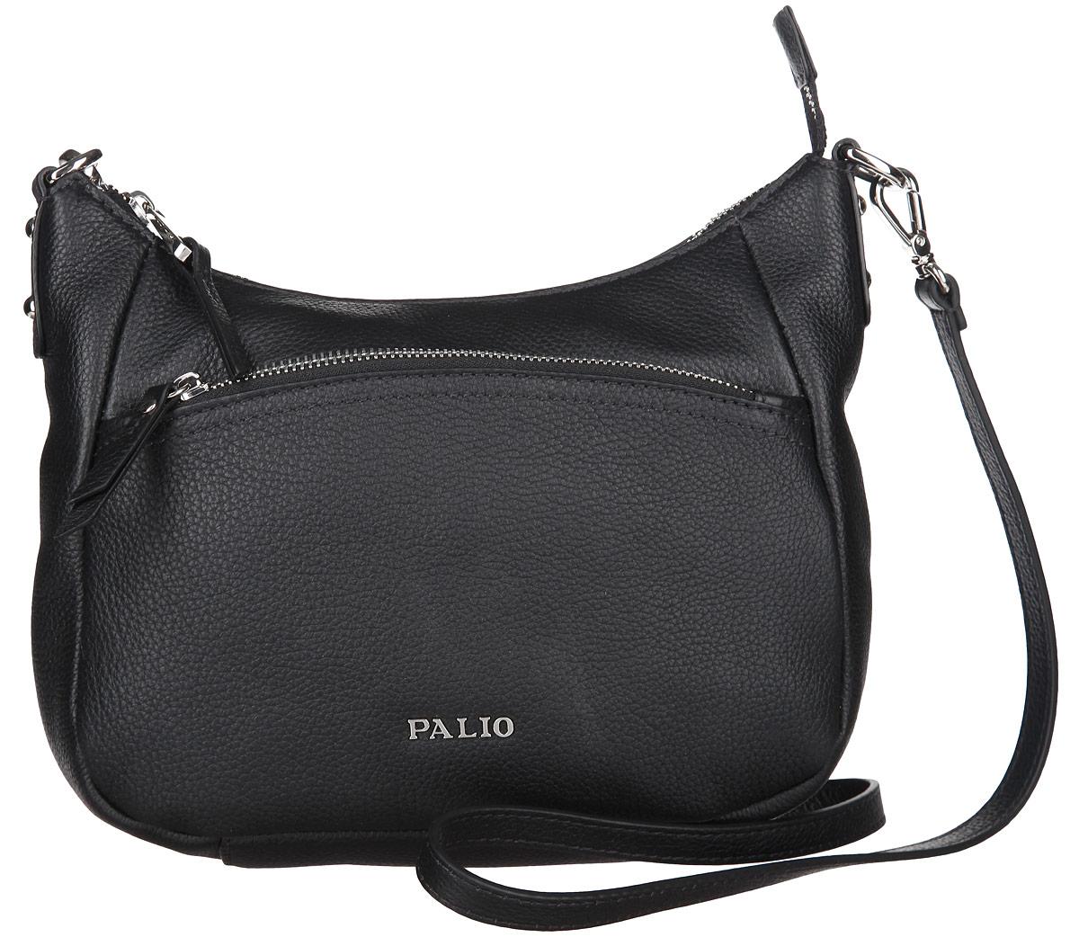 Сумка женская Palio, цвет: черный. 13738A-01813738A-018 blackСтильная женская сумка Palio выполнена из натуральной кожи с зернистой фактурой, оформлена металлической фурнитурой с символикой бренда. Изделие содержит одно отделение, которое закрывается на молнию. Внутри расположены: два накладных кармашка для мелочей и врезной карман на молнии. Снаружи, на задней стороне сумки, расположен врезной карман на застежке-молнии. Лицевая сторона сумки дополнена врезным карманом на молнии. Сумка оснащена съемным плечевым ремнем регулируемой длины. Оригинальный аксессуар позволит вам завершить образ и быть неотразимой.