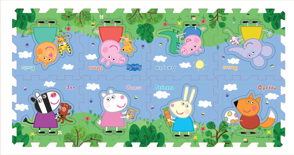 Peppa Pig Коврик-пазл Пеппа и друзья30130Предложите малышу поиграть с ковриком-пазлом Пеппа и друзья, созданным по мотивам мультфильма Свинка Пеппа! Соберите 8 сегментов в единую картинку по образцу на вкладыше, проговаривая, куда вы кладете каждый из них: правый нижний угол, левый верхний. Детали можно складывать в 1 или 2 ряда. В каждом сегменте есть пустое место, в которое нужно вставить вырезанного персонажа (имена героев подписаны). У вас получится мягкий и красивый коврик, на котором можно играть. Работа с ковриком развивает у детей образно-пространственное мышление, логику, моторику и тактильное восприятие. А для более интересной игры можно приобрести другие игрушки из серии Peppa Pig. Коврик-пазл с вырезанными персонажами Пеппа и друзья ТМ Peppa Pig включает 8 сегментов размером 31,5 х 31,5 х 1 см, выполненных из мягкого, приятного на ощупь материала EVA. Размер коврика в собранном виде: 252 х 31,5 х 1 см или 126 х 62 х 1 см в зависимости от способа сборки.