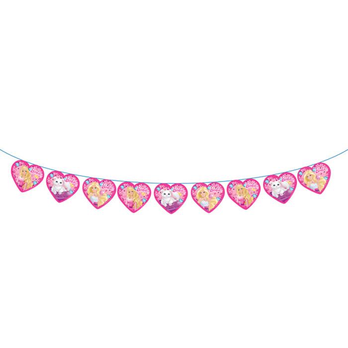 Barbie Гирлянда-флажки28300Хотите ярко и красиво оформить помещение ко Дню Рождения? Для детского праздника идеально подойдет гирлянда с очаровательной Барби. Она не только эффектно преобразит помещение, но и поднимет настроение всем участникам торжества. Гирлянда Барби длиной 3 м изготовлена из бумаги, имеет высоту флажков 18 см. Способ крепления - лента.