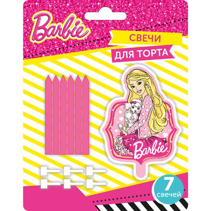 Barbie Набор свечей 7 шт28310Что может быть лучше на День Рождения, чем вкусный торт с яркими свечами? Особенно если в центре красуется любимый персонаж. Очаровательная Барби обязательно порадует именинницу и поднимет настроение всем гостям. В наборе: 1 фигурная свеча размером 6 х 3 см в виде Барби, 6 обычных свечей размером 6 х 0,5 см.