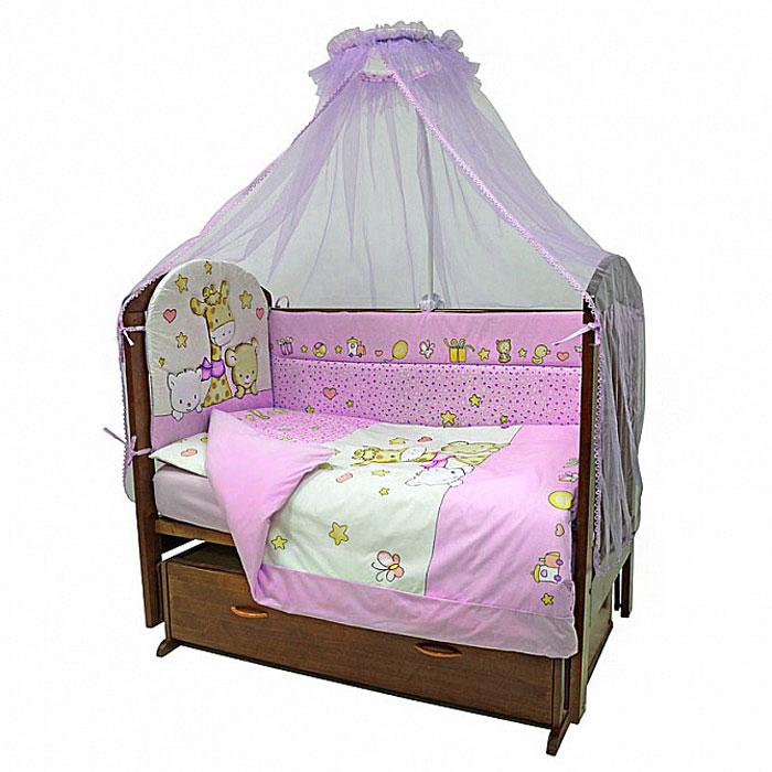 Топотушки Комплект детского постельного белья Детский Мир цвет розовый 7 предметов4630008874080Комплект постельного белья из семи предметов включает все необходимые элементы для детской кроватки. Комплект создает для вашего ребенка уют, комфорт и безопасную среду с рождения. Современный дизайн и цветовые сочетания помогают ребенку адаптироваться в новом для него мире. Комплекты Топотушки хорошо вписываются в интерьер, как детской комнаты, так и спальни родителей. Как и все изделия Топотушки, данный комплект отражает самые последние технологии, является безопасным для малыша и экологичным. Российское происхождение комплекта гарантирует стабильно высокое качество, соответствие актуальным пожеланиям потребителей, конкурентоспособную цену. В комплект входят: Борт 360 см х 40 см; Балдахин из сетки 300 см х 160 см; Подушка 40 см х 60 см; Одеяло 140 см х 100 см; Наволочка 40 см х 60 см; Пододеяльник 146 см х 104 см; Простыня на резинке 120 см х 60 см. Комплект упакован в удобную пластиковую сумку с...