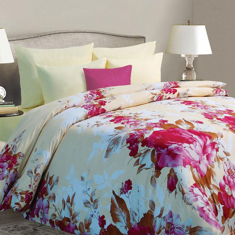 Комплект белья Mona Liza Sanrayz, семейный, наволочки 50х70, цвет: светло-бежевый, розовый