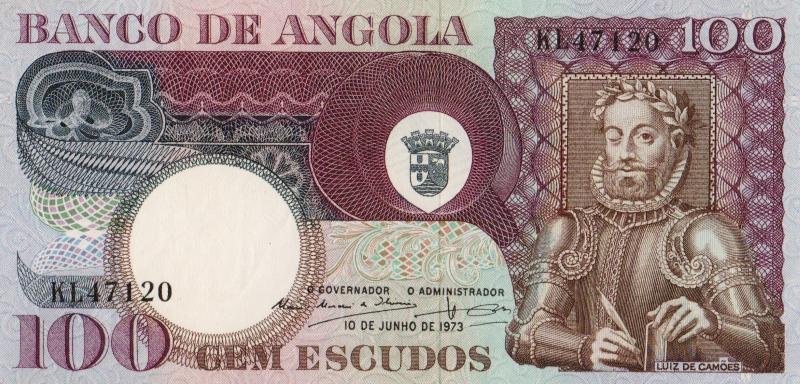 Банкнота номиналом 100 эскудо Луис де Камоэнс. Ангола. 1973 год739Серия и номер банкноты могут отличаться от изображения.