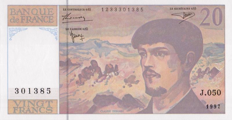 Банкнота номиналом 20 франков Клод Дебюсси. Франция. 1997 год739Серия и номер банкноты могут отличаться от изображения.