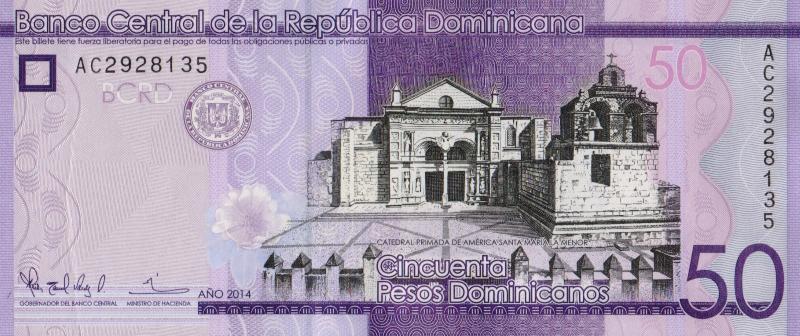 Банкнота номиналом 50 доминиканских песо. Доминиканская р-ка. 2014 год739Серия и номер банкноты могут отличаться от изображения.
