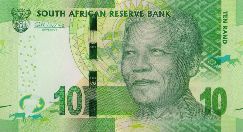 Банкнота номиналом 10 рандов. ЮАР. 2014 год739Серия и номер банкноты могут отличаться от изображения.