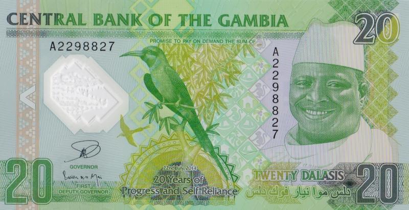 Банкнота номиналом 20 даласи 20 лет прогресса и независимости. Полимер. Гамбия. 2015 год739Серия и номер банкноты могут отличаться от изображения.