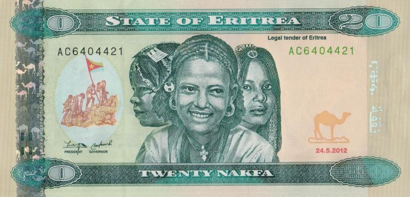 Банкнота номиналом 20 накф. Эритрея. 2012 год739Серия и номер банкноты могут отличаться от изображения.