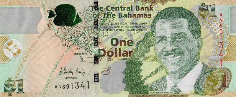 Банкнота номиналом 1 доллар. Багамские о-ва. 2015 год739Серия и номер банкноты могут отличаться от изображения.