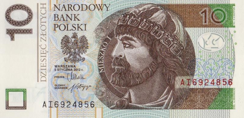 Банкнота номиналом 10 злотых. Польша. 2014 год739Серия и номер банкноты могут отличаться от изображения.