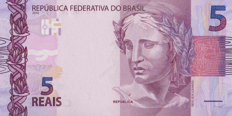 Банкнота номиналом 5 реалов. Бразилия. 2010 год739Серия и номер банкноты могут отличаться от изображения.