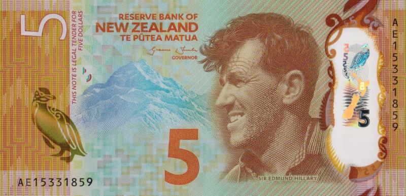 Банкнота номиналом 5 долларов. Полимер. Новая Зеландия. 2015 год739Серия и номер банкноты могут отличаться от изображения.