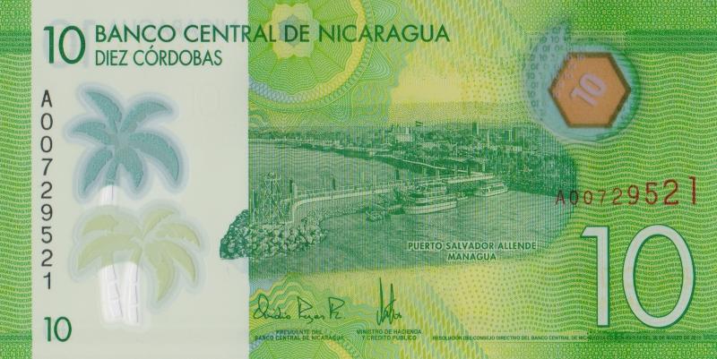 Банкнота номиналом 10 кордоб. Полимер. Никарагуа. 2015 год