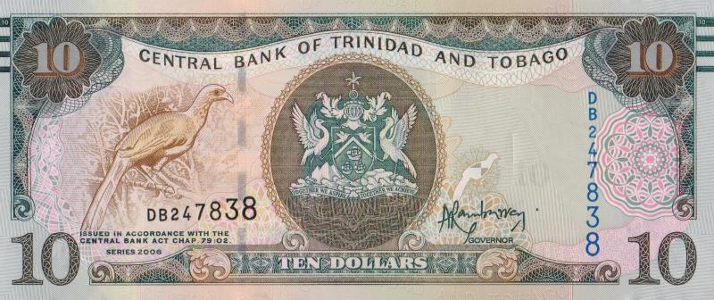 Банкнота номиналом 10 долларов. Тринидад и Тобаго. 2006 год739Серия и номер банкноты могут отличаться от изображения.