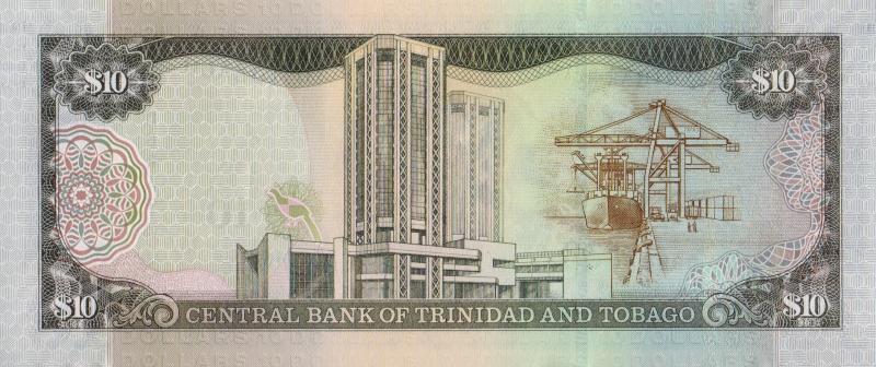 Банкнота номиналом 10 долларов. Тринидад и Тобаго. 2006 год