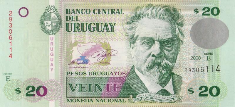Банкнота номиналом 20 уругвайских песо. Уругвай. 2008 год739Серия и номер банкноты могут отличаться от изображения.