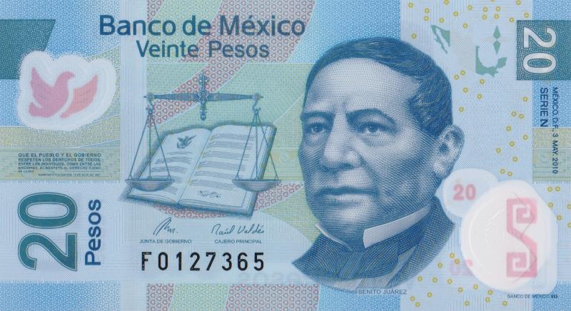 Банкнота номиналом 20 песо. Полимер. Мексика. 2010 год739Серия и номер банкноты могут отличаться от изображения.