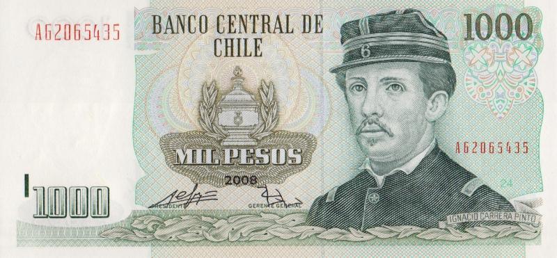 Банкнота номиналом 1000 песо. Чили. 2008 год739Серия и номер банкноты могут отличаться от изображения.