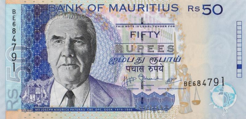 Банкнота номиналом 50 рупий. Маврикий. 2009 год739Серия и номер банкноты могут отличаться от изображения.