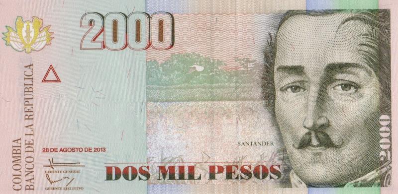 Банкнота номиналом 2000 песо. Колумбия. 2013 год739Серия и номер банкноты могут отличаться от изображения.