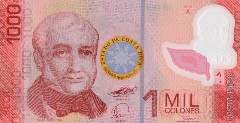 Банкнота номиналом 1000 колонов. Полимер. Коста-Рика. 2009 год739Серия и номер банкноты могут отличаться от изображения.