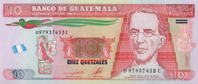 Банкнота номиналом 10 кетсалей. Гватемала. 2014 год739Серия и номер банкноты могут отличаться от изображения.