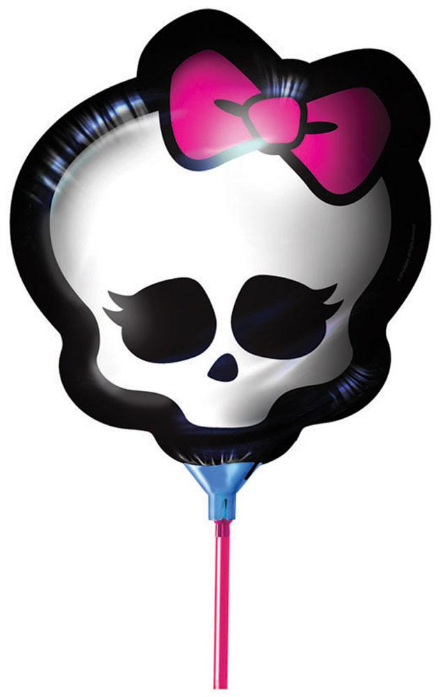 Monster High Шар фольгированный Будь монстром24503Шарик с логотипом Школы монстров стильно и модно украсит любую вечеринку. Мини-фигура Будь монстром ТМ Монстр Хай в виде черепа диаметром 23 см изготовлена из миларовой пленки, комплектуется палочкой и держателем.