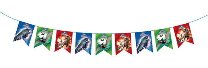 Jurassic World Гирлянда-флажки Динозавры28303Стильная гирлянда Динозавры с персонажами фильма Парк Юрского Периода поможет ярко преобразить помещение к детскому празднику, создать торжественную атмосферу и поднять настроение имениннику и всем гостям. Гирлянда длиной 3 м изготовлена из бумаги, имеет высоту флажков 18 см. Способ крепления - лента.