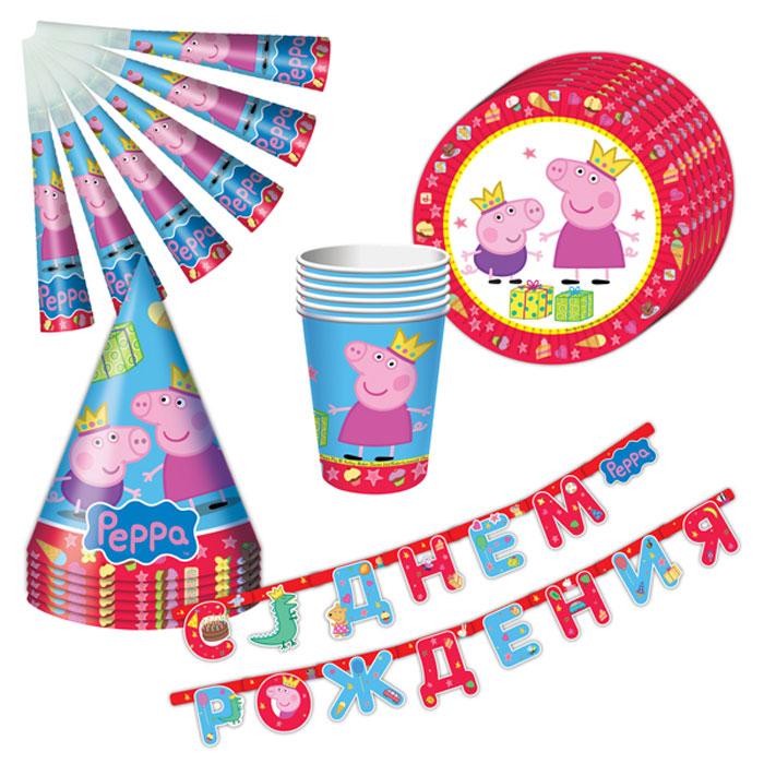 Peppa Pig Набор посуды Пеппа-принцесса 25 предметов28566С набором Пеппа-принцесса ТМ Свинка Пеппа день рождения ребенка станет по-настоящему незабываемым! Красочный дизайн с веселой свинкой поднимет настроение всем: и детям, и даже взрослым. Гирлянда преобразит помещение, колпачки и дудочки помогут организовать множество увлекательных игр. А красивая посуда ярко украсит стол и принесет практическую пользу: одноразовые тарелки и стаканы почти невесомы, не могут разбиться, их не надо мыть. Сделанная из бумаги, такая посуда абсолютно безопасна и, благодаря специальному покрытию, прекрасно удерживает еду и напитки. В наборе 25 предметов на 6 персон: 6 тарелок диаметром 23 см, 6 стаканов объемом 210 мл, 6 бумажных колпачков на резинках, 6 бумажных дудочек, 1 бумажная гирлянда с надписью С Днем Рождения длиной 2,5 м.
