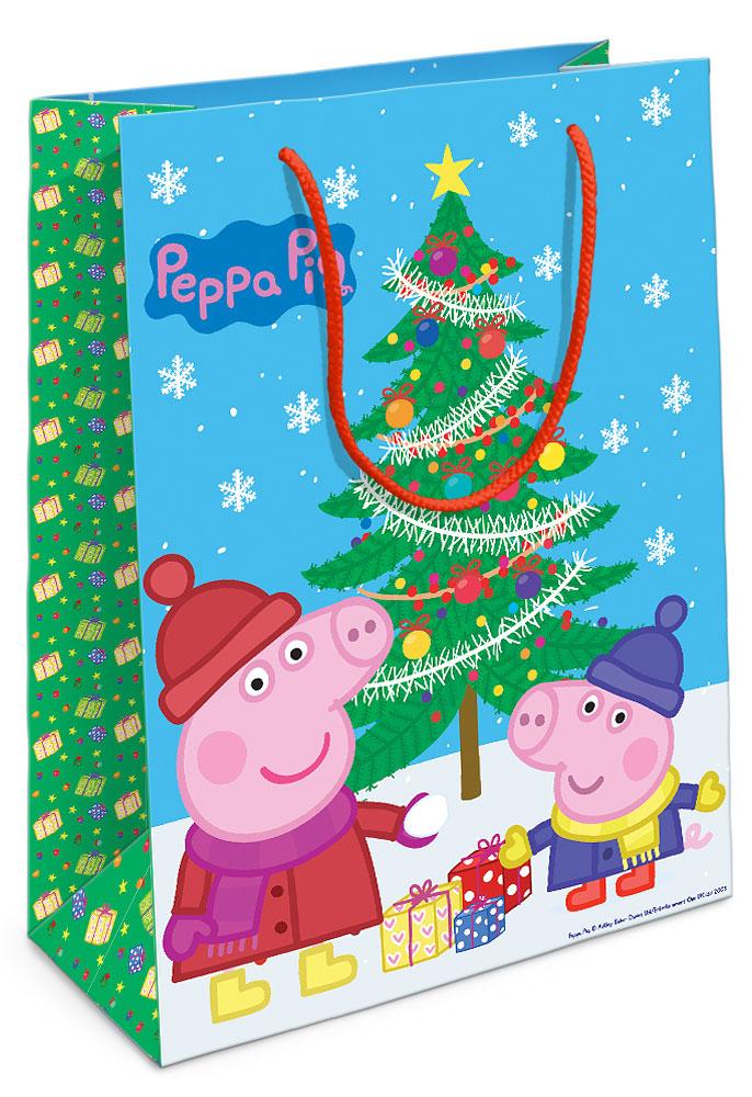 Peppa Pig Пакет подарочный Пеппа и ёлка 35х25х9 см29993Порадуйте малыша новогодним подарком! А красивый подарочный пакет Пеппа и ёлка с забавными героями мультфильма Свинка Пеппа станет его эффектным дополнением. Размер бумажного подарочного пакета: 35х25х9 см.