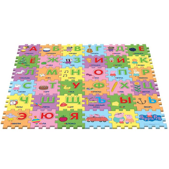 Peppa Pig Коврик-пазл Учим азбуку с Пеппой30128Предложите малышу поиграть с ковриком-пазлом Учим азбуку с Пеппой, созданным по мотивам мультфильма Свинка Пеппа! Соберите 36 сегментов в единую картинку по образцу на вкладыше, проговаривая, куда вы кладете каждый из них: первый справа в нижнем ряду и т. д. В каждом сегменте есть пустое место, в которое нужно вставить вырезанную букву (на каждом есть изображение предмета или героя мультфильма, подписанное словом, начинающимся на нужную букву). У вас получится мягкий и красивый коврик, на котором можно играть. Вы также можете составлять простые слова из вырезанных букв или целых сегментов. Работа с ковриком-пазлом помогает детям в игровой форме быстро выучить алфавит, развивает образно-пространственное мышление, логику, моторику и тактильное восприятие. Коврик-пазл с вырезанными буквами включает 36 сегментов (15х15х1 см), выполненных из мягкого, приятного на ощупь материала EVA. Размер коврика в собранном виде: 90х90х1 см. Товар сертифицирован. Размер упаковки: 45х5,5х30...