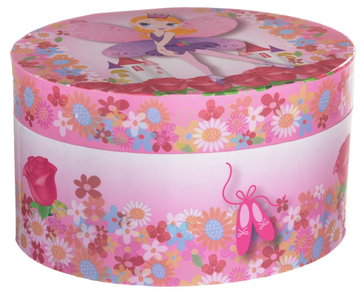 Jakos Музыкальная шкатулка цвет розовый фиолетовый615000_фиолетовыйЧудесная музыкальная шкатулка станет великолепным подарком для вашей маленькой красавицы, а ее сказочный мотив создаст поистине волшебное настроение. Выполненная в фиолетово-розовых тонах в виде сундучка овальной формы с глянцевым бумажным покрытием, шкатулка оформлена изображением прекрасной феи. Внутри шкатулки одно отделение для хранения разнообразных вещиц, зеркальце и пластиковая фигурка феи, которая при открывании крышки начинает плавно кружиться и звучит приятная мелодия. Внутренняя поверхность отделана нежно-розовым бархатистым материалом. Шкатулка оснащена металлическим заводным механизмом. Приятная мелодия музыкальной шкатулки успокаивает и дарит романтическое настроение.