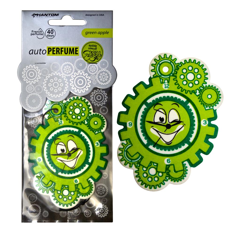 """Ароматизатор PHANTOM Auto Perfume, зеленое яблокоPH3556Новая серия подвесных автомобильный ароматизаторов """"AutoPerfume"""" удивит уникальным дизайном и качеством подобранных ароматов. Выбрать свой индивидуальный аромат помогут тестеры, расположенные на каждой упаковке. Богатая палитра цветовых решений поможет каждому найти подходящее оформление. Серия является официально зарегистрированной и сертифицированной на территории России, оставаясь уникальной и неповторимой. Линейка регулярно обновляется, пополняясь даже лимитированными коллекциями. Аромат зеленого яблока освежит и добавит яркости даже в пасмурный день. Изготовление из высококачественных материалов обеспечивает изделие высоким сроком службы и износостойкостью. Французский парфюмерный дом, поставляющий отдушку для ароматизаторов, является одним из ведущих в своем деле. Материал: высококапиллярный картон; Отдушки: поставляются от парфюмерного дома Франции; Фирменная яркая упаковка с интересной вырубкой на лицевой части привлечет внимание на полке!"""