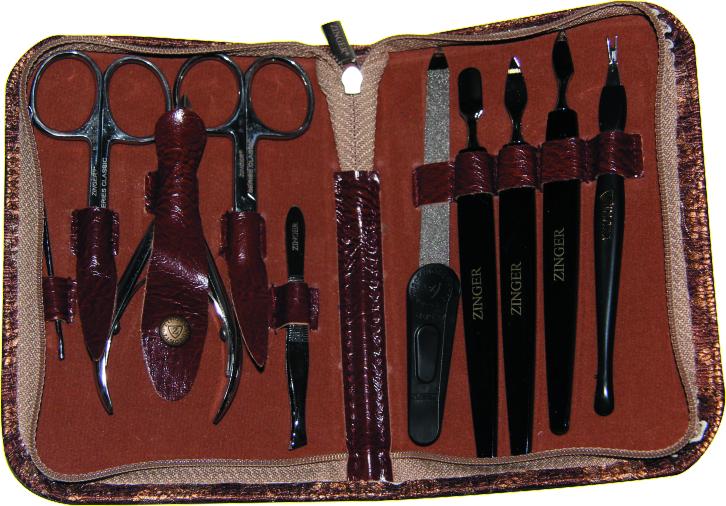 Zinger Маникюрный набор 22405 S ZS25972Ман.набор 9 предметов (кусачки маникюрные, кусачки педикюрные, ножнцы кутикульные, ножницы ногтевые, комбинированый двусторонний шабер, пилка алмазная, триммер, пинцет, палочка для ушей). Чехол на молнии эко.кожа\ткань. Цвет инструментов - глянцевое серебро