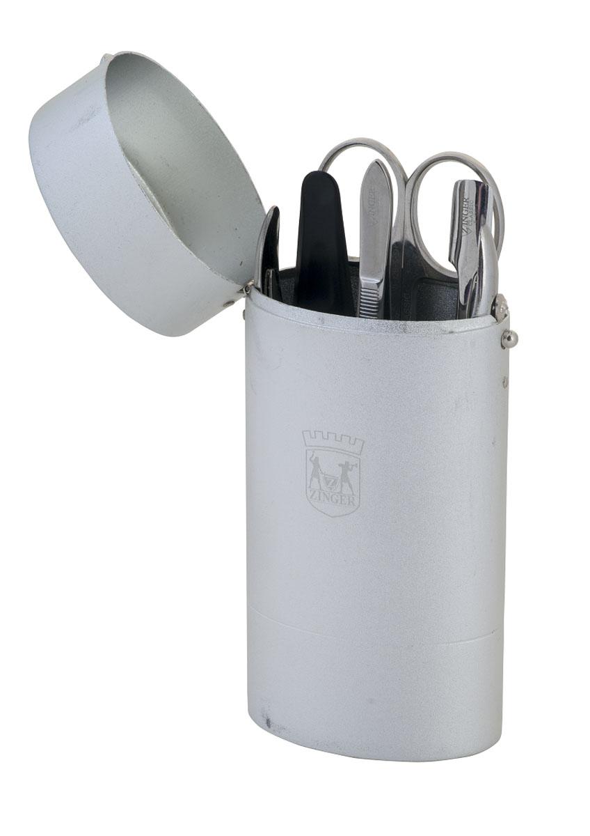 Zinger Маникюрный набор (стакан) zo-64256-S35344Ман.набор 5 предметов (кусачки маникюрные, ножнцы кутикульные, металлический двусторонний шабер, пилка алмазная, пинцет), Футляр - металлический тубус. Цвет инструментов - глянцевое серебро