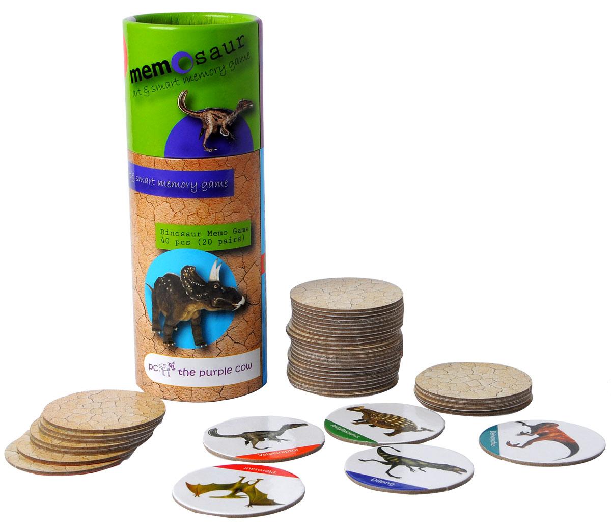 The Purple Cow Настольная игра для развития памяти Динозавры368842Игра для развития памяти - Динозавры. Она состоит колоды из парных карточек. Колода тщательно перемешиваются между собой и раскладываются в случайном порядке «рубашкой» вверх в любом порядке, главное, чтобы карточки не перекрывали друг друга. Каждый игрок может открывать любые две карточки за один ход. Если при открытии образовалась «парочка», то игрок забирает обе карточки себе и делает следующий ход. Если картинки на перевернутых карточках разные, то игрок кладет открытые карточки на их прежнее место лицевой стороной вверх так, чтобы все участники игры могли на них посмотреть и запомнить их расположение, после чего открытые карточки переворачивают обратно «рубашкой» вверх и ход переходит к следующему игроку. Выигрывает тот, кто набирает больше всех парных карточек за игру.