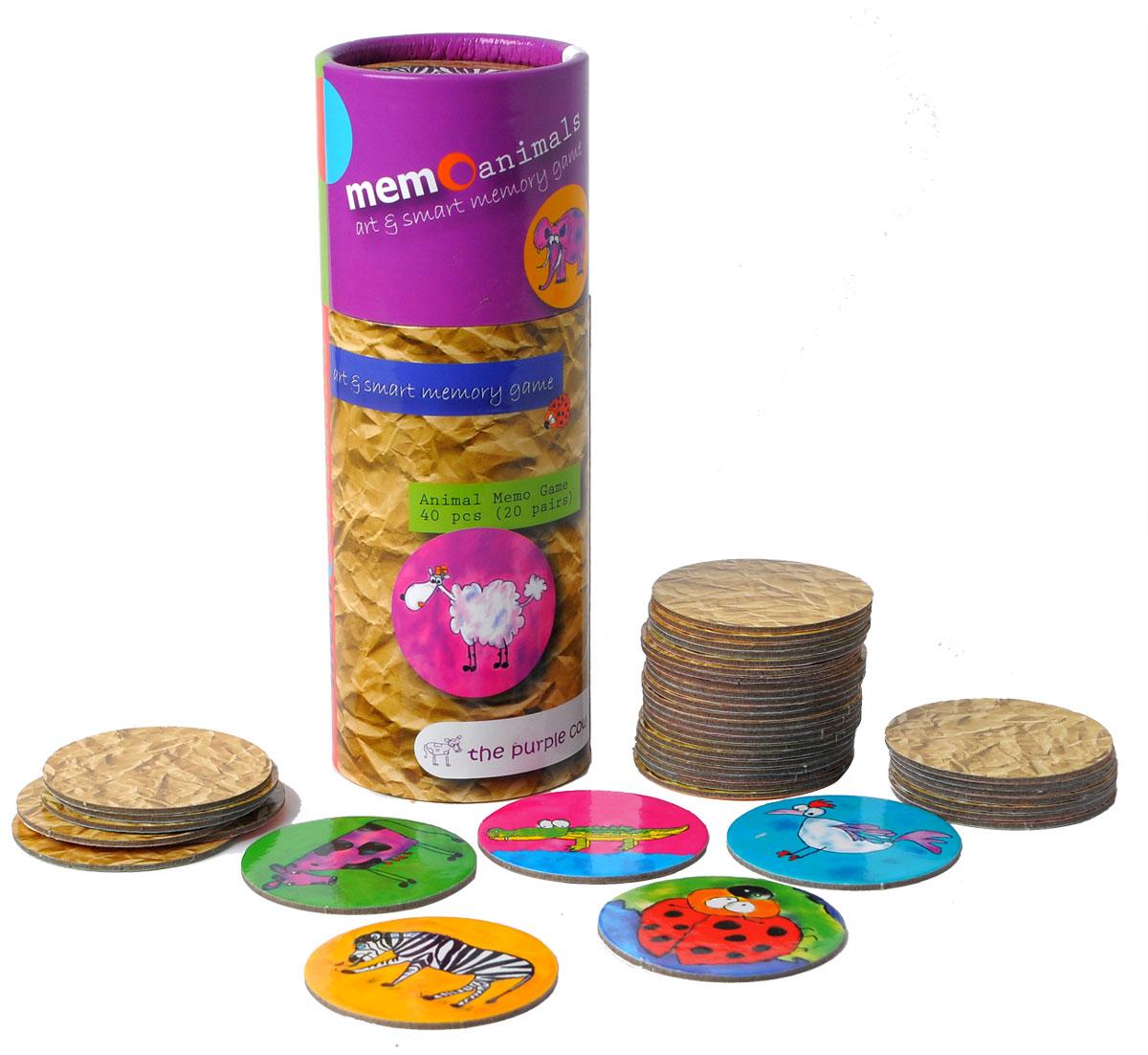 The Purple Cow Настольная игра для развития памяти Животные368880Игра для развития памяти - Животные. Она состоит колоды из парных карточек. Колода тщательно перемешиваются между собой и раскладываются в случайном порядке «рубашкой» вверх в любом порядке, главное, чтобы карточки не перекрывали друг друга. Каждый игрок может открывать любые две карточки за один ход. Если при открытии образовалась «парочка», то игрок забирает обе карточки себе и делает следующий ход. Если картинки на перевернутых карточках разные, то игрок кладет открытые карточки на их прежнее место лицевой стороной вверх так, чтобы все участники игры могли на них посмотреть и запомнить их расположение, после чего открытые карточки переворачивают обратно «рубашкой» вверх и ход переходит к следующему игроку. Выигрывает тот, кто набирает больше всех парных карточек за игру.