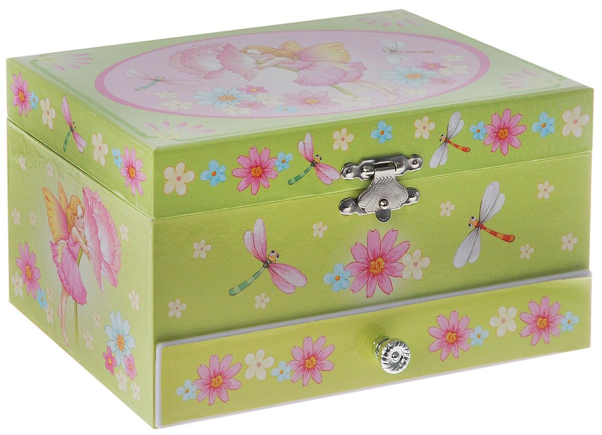 Jakos Музыкальная шкатулка Эльф с цветком60000_элф с цветкомЧудесная музыкальная шкатулка Эльф с цветком станет великолепным подарком для вашей маленькой красавицы, а ее сказочный мотив создаст поистине волшебное настроение. Выполненная в салатово-розовых тонах в виде деревянного сундучка прямоугольной формы с глянцевым бумажным покрытием, шкатулка оформлена изображением прекрасной девочки-эльфа. Внутри шкатулки одно отделение для хранения разнообразных вещиц, валики для колец, зеркальце и пластиковая фигурка феи, которая при открывании крышки начинает плавно кружиться и играет приятная мелодия. Кроме того, шкатулка имеет дополнительное выдвигающееся отделение и металлический механический завод. Внутренняя поверхность отделана нежно-салатовым бархатистым материалом. Приятная мелодия музыкальной шкатулки успокаивает и дарит романтическое настроение.
