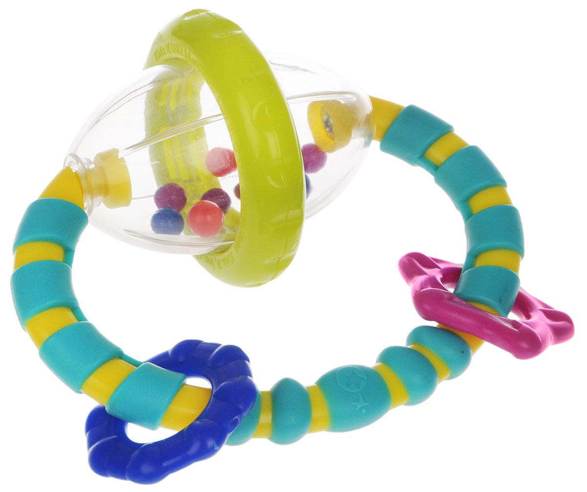 Bright Starts развивающая игрушка-погремушка Хватай и вращай8533Развивающая игрушка-погремушка Хватай и вращай понравится вашему ребенку и станет для него любимой игрушкой. Игрушка выполнена в виде прозрачного овала с гремящими шариками внутри, к которому крепится пластиковое рельефное кольцо с тремя элементами различной формы. Овальная форма игрушки очень удобна для ручек малыша. Малыш с удовольствием будет вращать прозрачную сферу, наслаждаясь звуками гремящих разноцветных шариков. Игрушка способствует развитию мелкой моторики рук, цветовосприятия и звуковосприятия. Характеристики: Рекомендуемый возраст: от 3 месяцев. Размер игрушки: 11 см х 11 см х 6 см. Изготовитель: Китай.