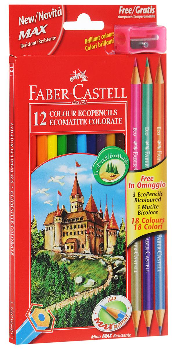 Faber-Castell Набор цветных карандашей Eco 15 цветов с точилкой цвет точилки розовый111215В наборе Faber-Castell 12 цветных шестигранных карандашей, не требующих сильного нажатия. Карандаши обладают яркими цветами, безопасны при использовании по назначению, легко затачиваются, изготовлены из высококачественной древесины, имеют прочный грифель. Набор дополнен тремя круглыми карандашами, каждый из которых имеет по два цвета. Набор карандашей откроет юным художникам новые горизонты для творчества, поможет отлично развить мелкую моторику рук, цветовое восприятие, фантазию и воображение. Корпус изготовлен из натуральной древесины, гладкость которой обеспечена многослойной покраской. Карандаши удобно держать в руках, а мягкий грифель не требует сильного нажима и легко стирается ластиком. Вместе с карандашами, в наборе имеется точилка розового цвета из прочного пластика с рифленой областью захвата. Острое стальное лезвие обеспечивает высококачественную и точную заточку деревянных карандашей. Комплект включает 12 цветных карандаша, 3 двухцветных...