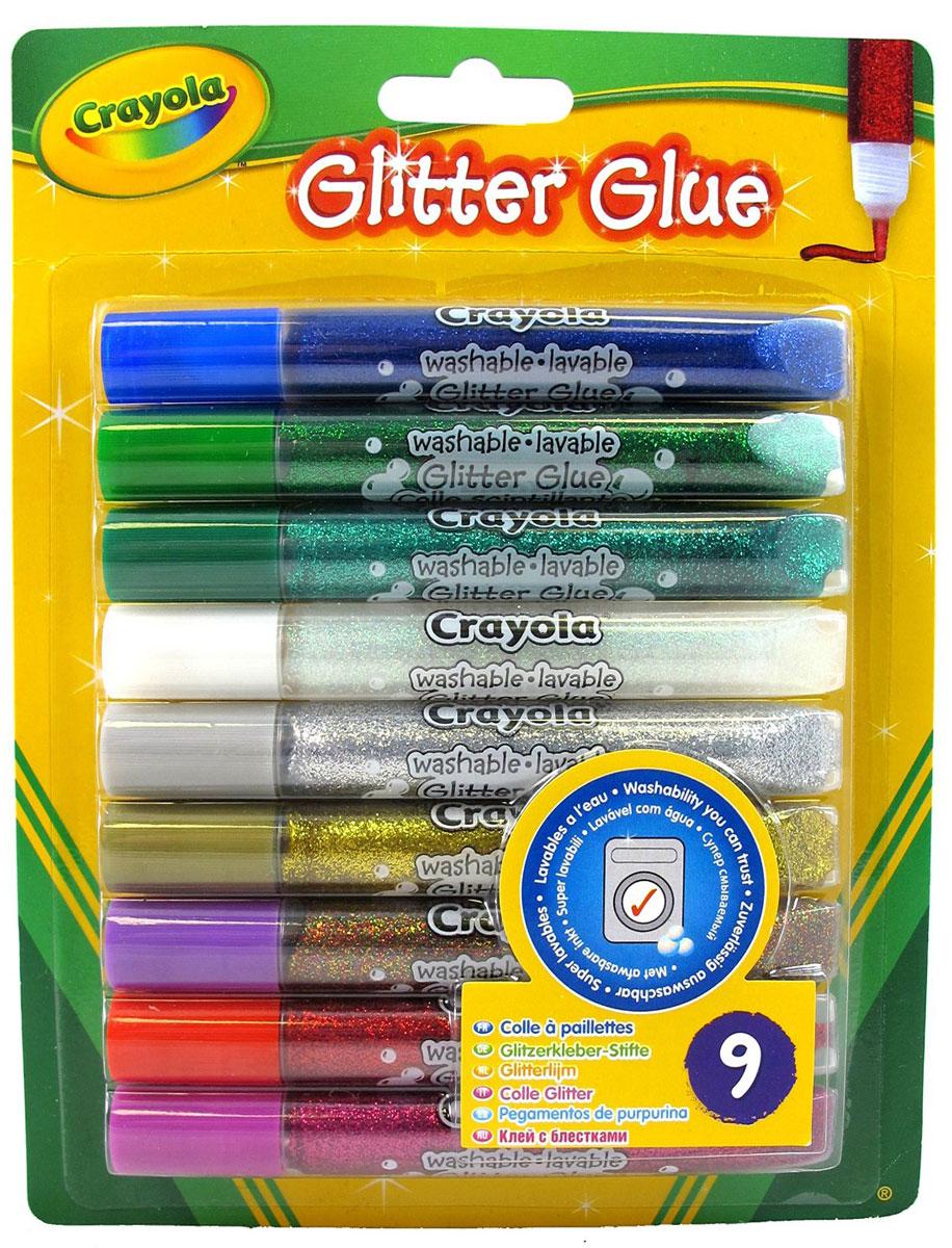 Crayola Клей с блестками для декорирования 9 цветов 35423542Клей с блестками Crayola можно использовать как для рисования, создавая рисунки с мерцающим эффектом, так и для склеивания отдельных частей бумаги. В набор входит клей с блестками красного, малинового, золотистого, серебристого, синего, зеленого, изумрудного, белого и разноцветного цветов. Специально разработанный тюбик с достаточно гибким наконечником позволяет варьировать ширину линии, увеличивая или уменьшая давление на корпус. Используя блестящий клей, дети смогут создать неповторимые рисунки, довести до совершенства поздравительные открытки, письма и многое другое!