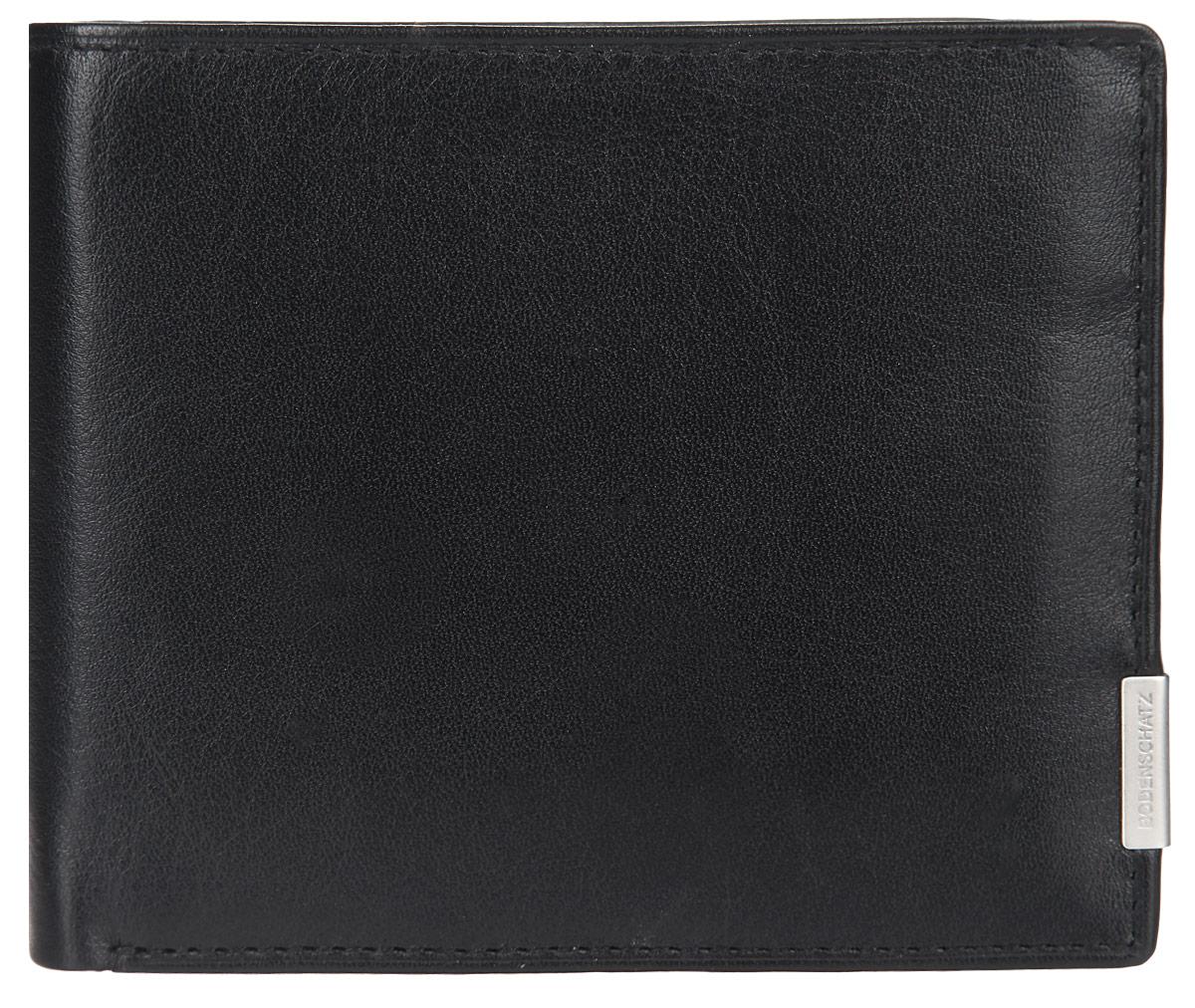 Портмоне мужское Bodenschatz, цвет: черный. 8-655/018-655/01Практичное портмоне Bodenschatz выполнено из высококачественной натуральной кожи с зернистой фактурой, оформлено металлической фурнитурой с символикой бренда. Портмоне раскладывается пополам, внутри изделия расположены: два отделения для купюр, два потайных кармана, отделение для монет на кнопке, шесть карманов для кредитных карт, один из которых с сетчатой вставкой. Портмоне упаковано в коробку из плотного картона с логотипом фирмы. Это элегантное портмоне непременно подойдет к вашему образу и порадует простотой, стилем и функциональностью.