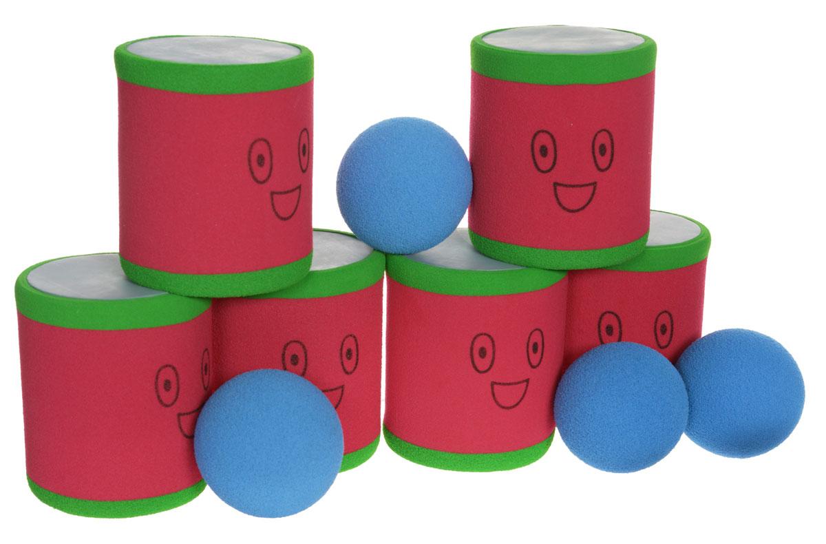 Safsof Игровой набор Городки цвет красный зеленый синийAT-02N(B)_красный зеленый синийИгровой набор Городки, изготовленный из вспененного материала, состоит из 6 ярких банок и 4 мячиков. Цель игры: выбить как можно больше фигур, построенных из трех и более городков (банок), мячами с определенного расстояния. Каждый участник сбивает фигуру с одного и того же расстояния, на каждую фигуру дается три броска. Если игроку удается сбить фигуру с первого броска, он получает 3 балла, со второго - 2 и с третьего - 1. Выигрывает тот участник, который набирает большее количество баллов. Благодаря яркой расцветке и легкому и безопасному материалу, с этим набором можно играть не только на улице, но и дома.