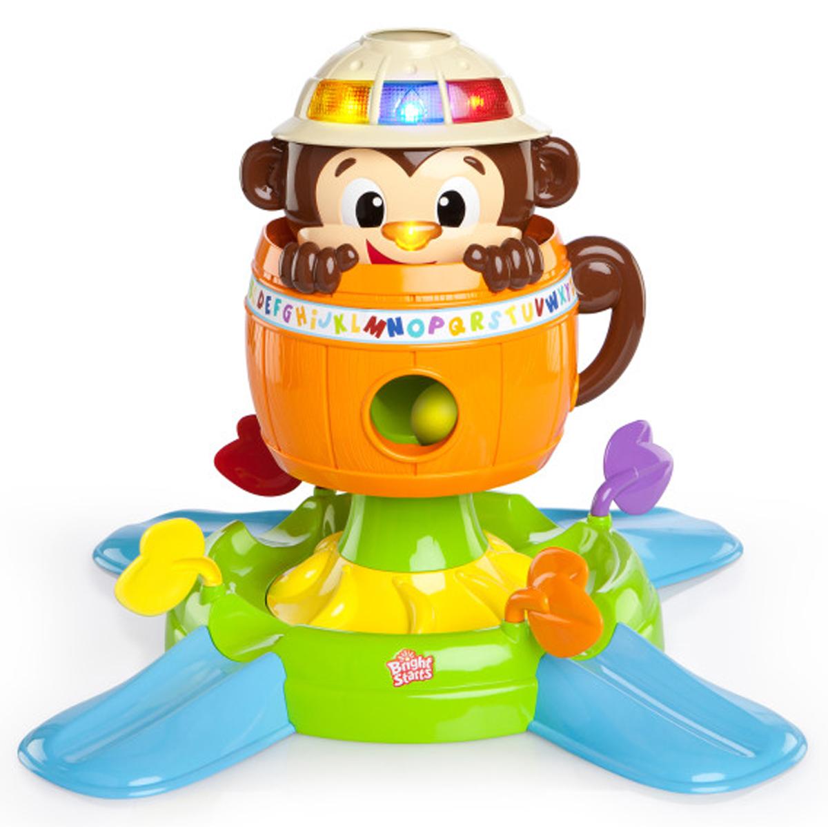 Bright Starts Развивающая игрушка Обезьянка в бочке52094Развивающая игрушка Bright Starts Обезьянка в бочке научит вашего малыша распознавать цвета и геометрические формы. Это прекрасная игрушка для малышей, только начинающих сидеть, ползать, стоять и уже умеющих ходить. В комплекте с обезьянкой идут 5 шариков, которые малыш должен забрасывать в специальные отверстия. Если ребенок нажмет на нос обезьянки, она будет прятаться в своей бочке, а шарики упадут в нижний лоток, где они будут вращаться по кругу. Bright Starts - это торговая марка американской компании Kids II, которая появилась на свет в 1969 году. Несмотря на давнюю широкую известность в Америке и странах Европы, для российского рынка Bright Starts относительной новый бренд. Однако, не смотря на это, он уже успел приобрести значительную популярность. Наиболее востребованные в России кресла-качалки и развивающие коврики. Эти товары призваны окружить малышей вниманием и забавлять их с первых месяцев жизни. Благодаря чему родители получают возможность выкроить...