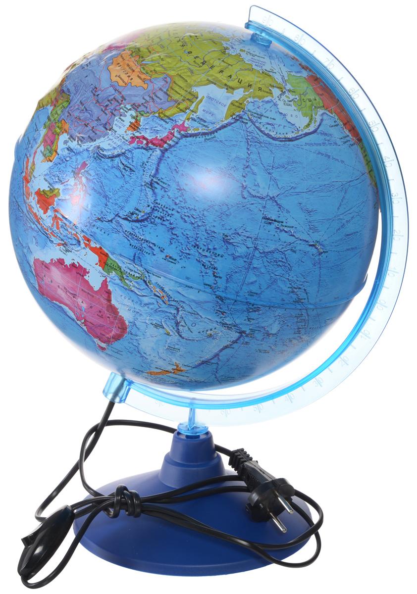 Globen Глобус Земли политический рельефный с подсветкой диаметр 25 смКе022500204_25ммГлобус Земли Globen с политической картой мира выполнен в высоком качестве, с четким и ярким изображением. Он даст представление о политическом устройстве мира. На нем отображены линии картографической сетки, показаны границы государств и демаркационные линии, столицы и крупные населенные пункты, линия перемены дат. Рельеф на глобусе демонстрирует наличие гор и возвышенностей. Глобус легко вращается вокруг своей оси, снабжен пластиковым меридианом с градусными отметками. Подставка изготовлена из пластика. Глобус имеет функцию подсветки от электрической сети. Надписи на глобусе сделаны на русском языке. В комплект входит: глобус, подставка.